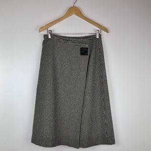 Ralph Lauren Vintage Houndstooth Wool Wrap Skirt 6